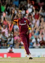 Fidel Edwards celebrates one of his three wickets, West Indies v Australia, 2nd Twenty20, Bridgetown, March 30, 2012