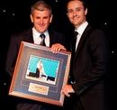 Beau Casson receives a presentation at the Cricket New South Wales awards night, Sydney, March 23, 2012
