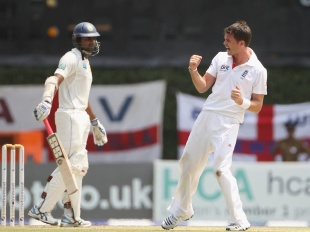 James Anderson celebrates after trapping Lahiru Thirimanne lbw, Sri Lanka v England, 2nd Test, Colombo, 1st day, April 3, 2012