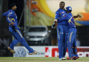 Kieron Pollard picked up a couple of wickets, Super Kings v Mumbai Indians, IPL 2012, Chennai, April 4, 2012