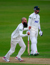 Moeen Ali celebrates the wicket of Neil Edwards, Nottinghamshire v Worcestershire, Nottingham, March, 5, 2012
