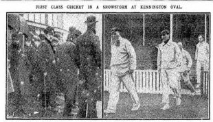 Snow and cold was the backdrop for WG Grace's final first-class appearance, Surrey v Gentlemen of England, The Oval, April 20, 1908