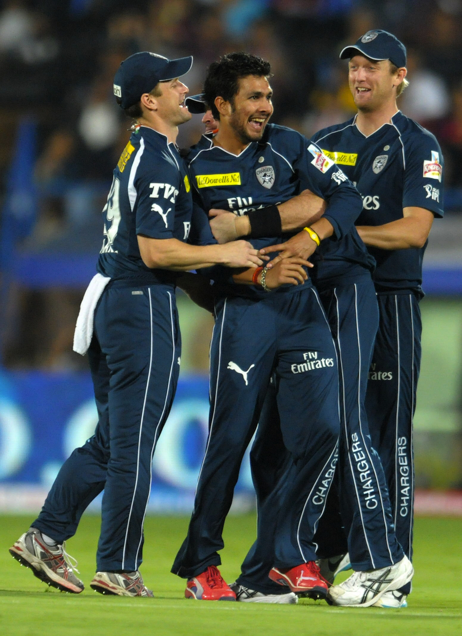 Ankit Sharma celebrates a wicket