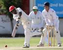Zeeshan Siddiqi plays an on-drive, Namibia v Canada, Intercontinental Cup, Windhoek, 3rd day, April 7, 2012