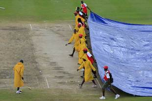 Rain disrupted play at the Kensington Oval, West Indies v Australia, 1st Test, Barbados, 1st day, April 7, 2012