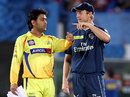 MS Dhoni and Cameron White talk before the toss, Deccan Chargers v Chennai Super Kings, IPL, Visakhapatnam, April 7, 2012