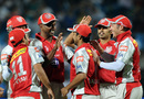 Kings XI Punjab celebrate the dismissal of Sourav Ganguly