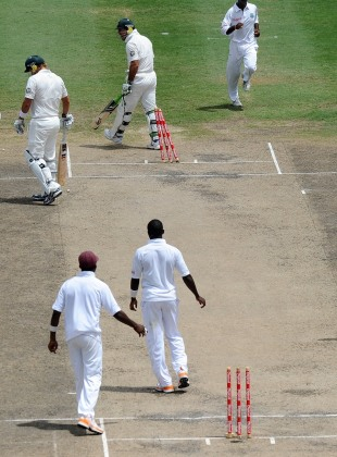 Ricky Ponting vents his frustration after being run out, West Indies v Australia, 1st Test, Barbados, 3rd day, April 9, 2012