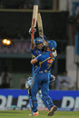 Rohit Sharma and James Franklin celebrate Mumbai's dramatic win