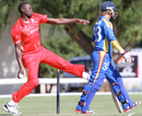 Henry Osinde runs up to bowl, Namibia v Canada, ICC WCL Championship, April 10, 2012