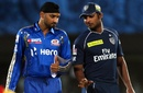 Harbhajan Singh and Kumar Sangakkara at the toss, Deccan Chargers v Mumbai Indians, IPL 2012, Visakhapatnam, April 9, 2012