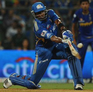 Kieron Pollard hits out, Mumbai Indians v Rajasthan Royals, IPL, Mumbai, April 11, 2012