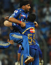 Harbhajan Singh celebrates with Kieron Pollard as Mumbai Indians inch closer