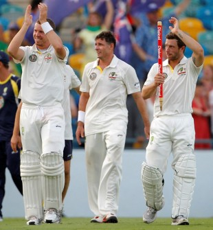 Peter Siddle, Michael Hussey and Matthew Wade acknowledge the crowd after Australia's win, West Indies v Australia, 1st Test, Barbados, 5th day, April 11, 2012