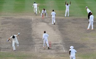 The Australians run through for their winning single, West Indies v Australia, 1st Test, Barbados, 5th day, April 11, 2012