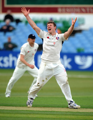 Matt Coles took three wickets to help bowl out Northamptonshire for 132, Northamptonshire v Kent, County Championship, Division Two, Wantage Road, April 12, 2012