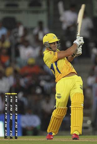 Faf du Plessis smashes one, Chennai Super Kings v Royal Challengers Bangalore, IPL, Chennai, April 12, 2012