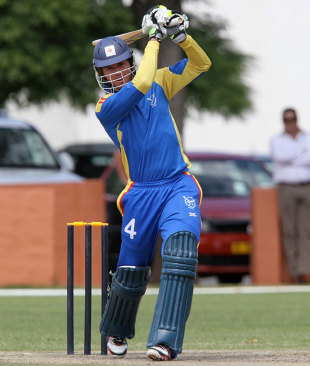 Christi Viljoen drives during his 50, Namibia v Canada, ICC World Cricket League Championship, 24th match, Windhoek, April 12, 2012