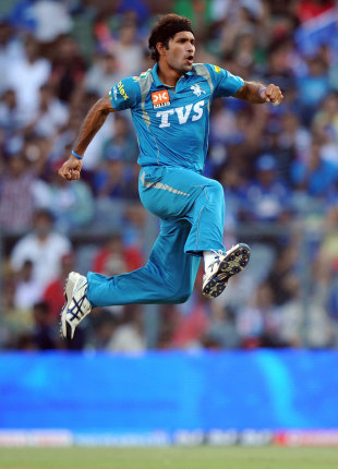 Ashok Dinda is ecstatic after claiming a wicket, Mumbai Indians v Pune Warriors India, IPL, Mumbai, April 6, 2012