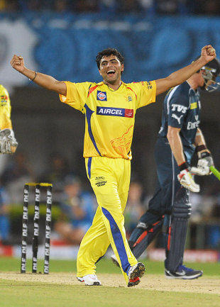 Ravindra Jadeja celebrates his five-for, Chargers v Super Kings, IPL 2012, Visakhapatnam, April 7, 2012