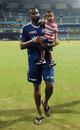 Kieron Pollard with his son Kaiden, Mumbai Indians v Rajasthan Royals, IPL, Mumbai, April 11, 2012