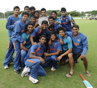 India Under-19s celebrate with the Quadrangular series trophy, Australia Under-19s v India Under-19s, Quadrangular Under-19 Series, final, Townsville, April 15, 2012