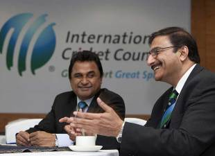 Mustafa Kamal and Zaka Ashraf at the ICC Executive Board Meeting, Dubai, April 15, 2012