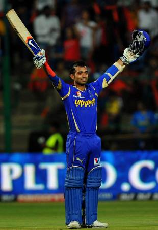 Ajinkya Rahane celebrates his ton, Royal Challengers Bangalore v Rajasthan Royals, IPL 2012, Bangalore, April 15, 2012
