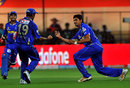 Siddharth Trivedi celebrates one of his four wickets, Royal Challengers Bangalore v Rajasthan Royals, IPL 2012, Bangalore, April 15, 2012