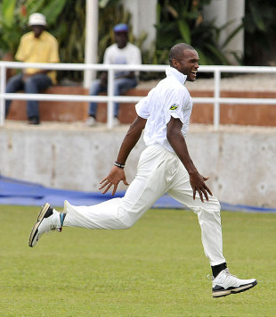David Bernard celebrates one of his four wickets, Jamaica v Barbados, Regional Four Day Competition, final, Sabina Park, 4th day, April 16, 2012