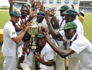 Jamaica celebrate with the Headley-Weekes Trophy, Jamaica v Barbados, Regional Four Day Competition, final, Sabina Park, 4th day, April 16, 2012