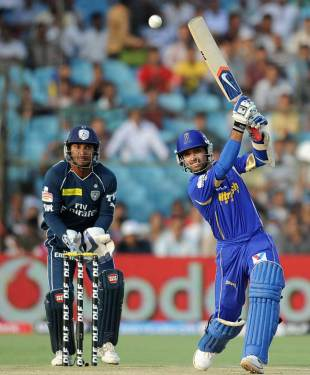 Ajinkya Rahane smashes one over mid-off, Rajasthan Royals v Deccan Chargers, IPL 2012, Jaipur, April 17, 2012
