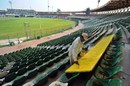 Work goes on at the Gaddafi Stadium, in preparation for Bangladesh's visit, Lahore, April 17, 2012