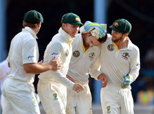 Team-mates congratulate Nathan Lyon on another wicket, West Indies v Australia, 2nd Test, Port-of-Spain, April 17, 2012