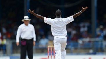 Kemar Roach appeals to the umpire