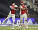 Piyush Chawla and Harmeet Singh celebrate a wicket, Kolkata Knight Riders v Kings XI Punjab, IPL 2012, Kolkata, April 15, 2012