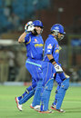Dishant Yagnik gets a pat on the back from Brad Hodge, Rajasthan Royals v Deccan Chargers, IPL 2012, Jaipur, April 17, 2012