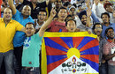 Tibetan fans have some fun at an IPL game, Kings XI Punjab v Kolkata Knight Riders, IPL, Mohali, April 18, 2012