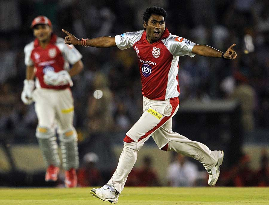 Parvinder Awana celebrates a wicket