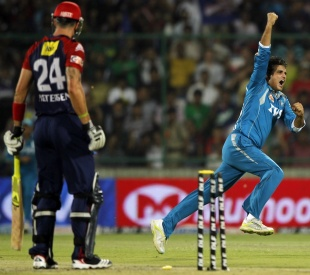 Sourav Ganguly celebrates the wicket of Kevin Pietersen, Delhi Daredevils v Pune Warriors, IPL 2012, Delhi, April 21, 2012