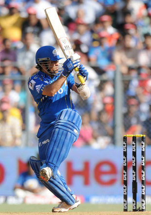 Sachin Tendulkar swings behind square leg, Mumbai Indians v Kings XI Punjab, IPL, Mumbai, April 22, 2012