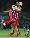 KP Appanna and AB de Villiers celebrate after Owais Shah is stumped, Rajasthan Royals v Royal Challengers Bangalore, IPL, Jaipur, April 23, 2012