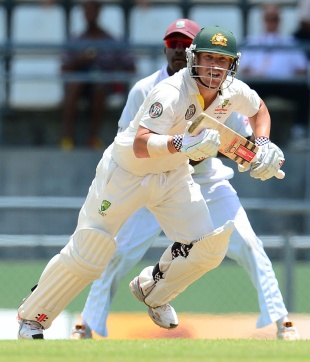 David Warner takes off for a run, West Indies v Australia, 3rd Test, Roseau, 1st day, April 23, 2012