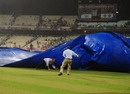 Strong winds blows away some covers at Eden Gardens