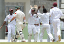 West Indies celebrate the fall of David Warner