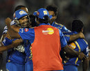 Robin Peterson celebrates a stunning victory with his team-mates, Kings XI Punjab v Mumbai Indians, IPL, Mohali, April 25, 2012