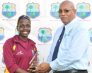 Shanel Daley gets the player-of-the-match award, Sri Lanka Women's tour of West Indies, 2012, Barbados, April 25, 2012