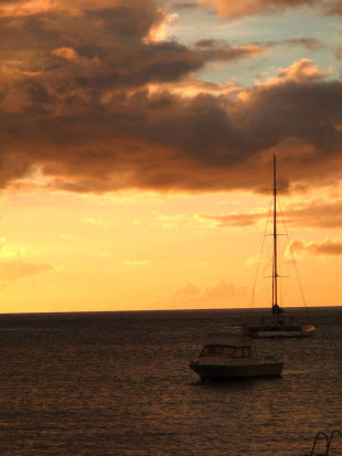 Sunset off the coast of Roseau in Dominica, April 2012