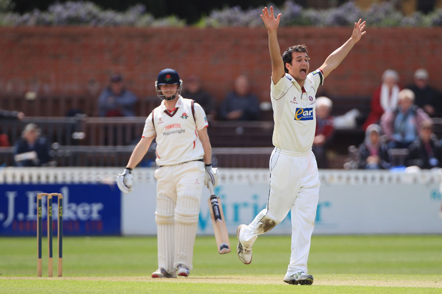 Lewis Gregory appeals for the wicket of Karl Brown