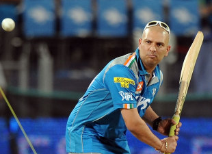 Yuvraj Singh has a hit, Pune Warriors v Deccan Chargers, IPL, Pune, April 26, 2012